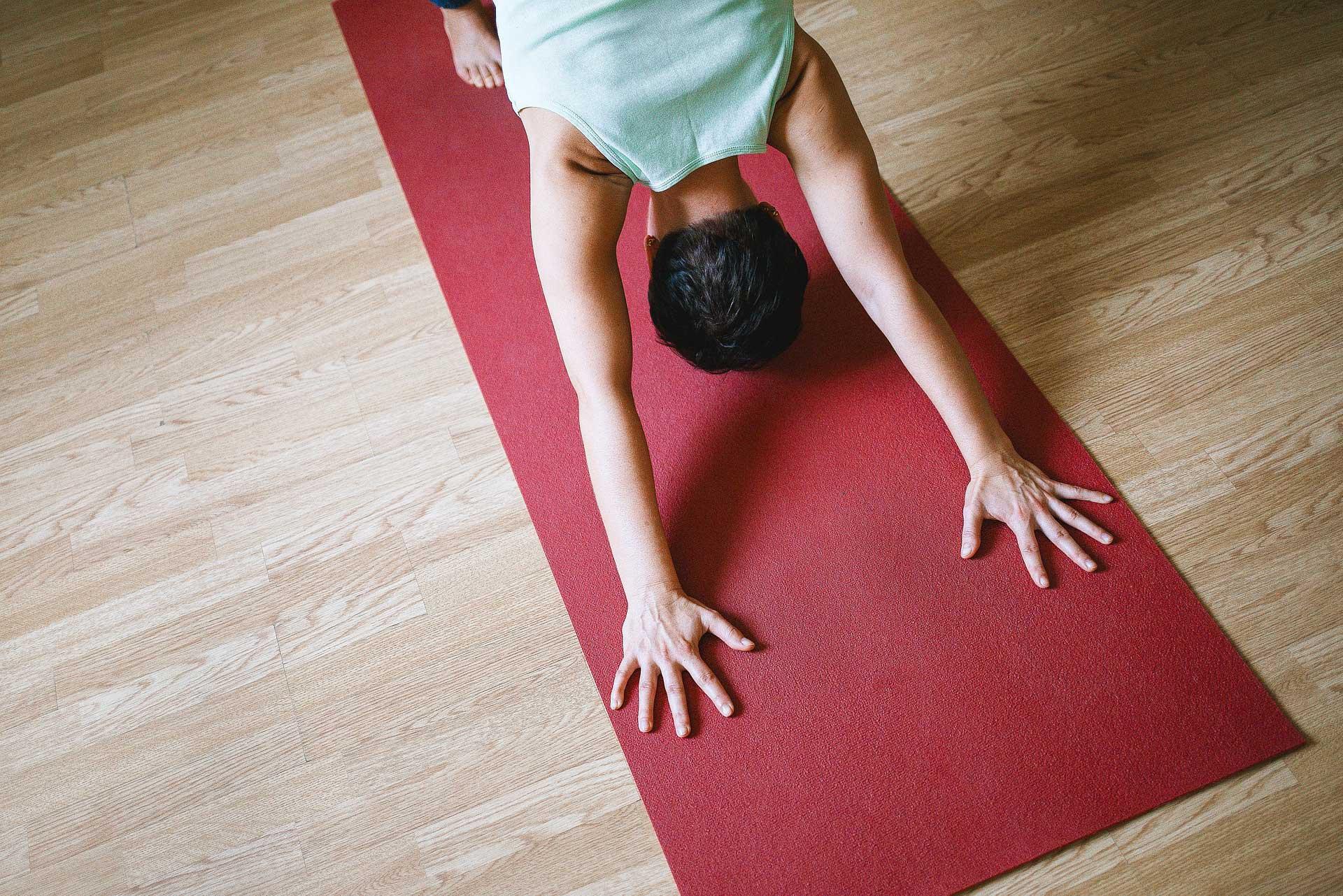 Yoga Downward Dog on mat