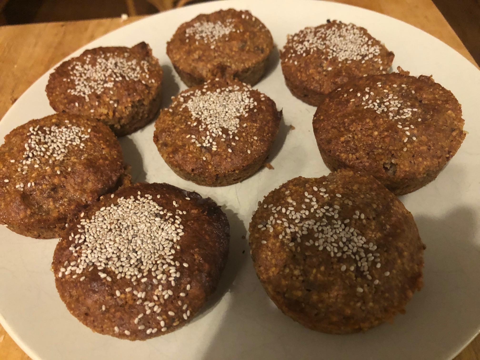 Chia, banana and date muffins
